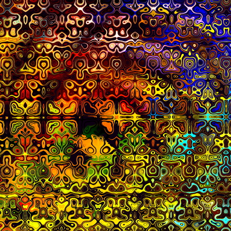 Psychedelic Colorful Art Background. Abstract Decorative Grunge. Weird Fractal Shapes. Colored Digital Fantasy. Artistic Modern Illustration. Red Yellow Orange Blue Black Colors. Creative Shape Image. Unique Design Element. Many Vibrant Color Blots.