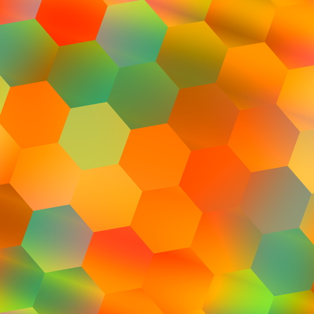 Colorful Hexagonal Background. Abstract Geometric Pattern. Orange Blue Colors. Backdrop for Mobile Phone or Digital Tablet. Blurred Red Green Color. Beautiful Colored Art Illustration. Web or Computer Wallpaper Backgrounds. Many Tiles Mosaic.