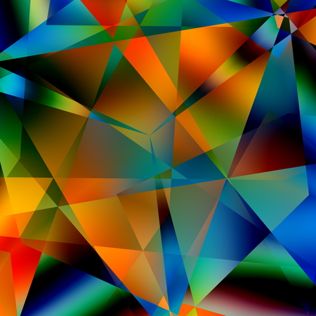 Abstract Colorful Triangular Pattern. Modern Geometric Mosaic Background. Black Blue Yellow Orange Green Colors. Various Colored Triangles. Digital Artistic Decorative Backdrop. Many Multicolored Polygonal Shapes. Fantasy Distortion. Creative Backdrop. photo