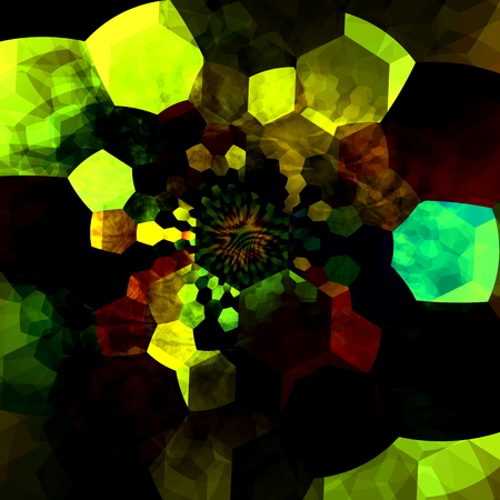 hexagonal shaped: Abstract Mysterious Mosaic Illustration. Creative Fantasy Background. Black Green Colors. Geometric Pattern. Digital Fractal. Surreal Artistic Polygonal Artwork. Many Chaotic and Psychedelic Hexagon Pieces. Modern Dark Decorative Composition. Effect.