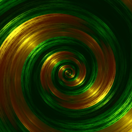 Artistic Green Fractal Spiral. Abstract Hypnotic Background. Golden Swirl Effect. Creative Futuristic Style. Digital Fantasy Graphic. Infinity Concept. Modern Surreal Art Image. Beautiful Vortex Shape. Orange Colored Linges. Original Illustration. illustration