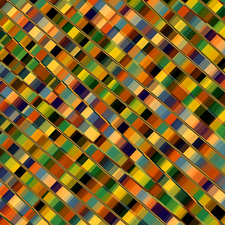 Optical Illusion Mosaic. Parallel Lines. Abstract Geometric Background Pattern. Colorful Diagonal Stripes. Decorative Stripes. Plaid Artwork. Artistic Colored Tiles. Striped Art Illustration. Creative Geometrical Backdrop. Funky Pixel Shapes. Image. Stock Photo