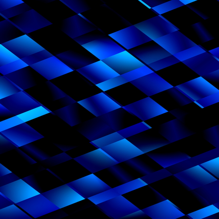 Blue Mosaic Background. Abstract Unique Lines Pattern. Monochrome Colored Geometric Cubism Style. Art Illustration Featuring Angled Rectangles. Computer Generated Image. Digital Design in Black. Dark Tiled Backdrop. Decorative Element.
