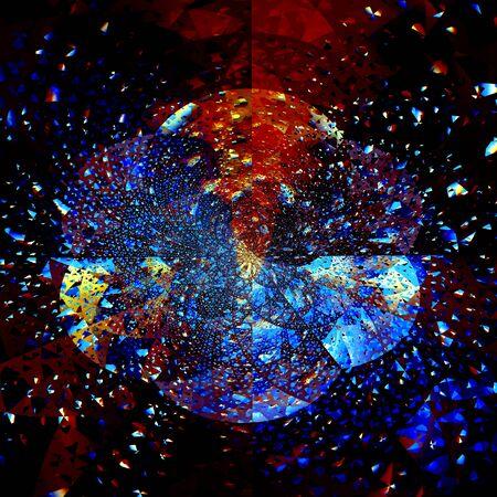 Abstract Explosion. Blue Orange Black Fractal. Futuristic Art Stock Photo