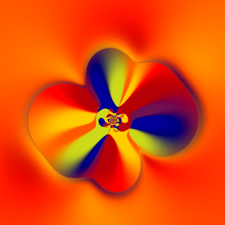 Strange Flower Shape. Abstract Colorful Fractal. Creative Fantasy Artwork. Floral Art. Artistic Computer Generated Image. Blue Yellow Red Orange Colors. Soft Decorative Vortex Graphic. Splash Background Decoration. Funny Round Twirl. Strange Swirls. photo