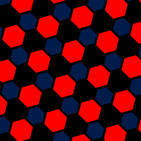 Abstract blue red hexagon illustration. Macro background. Pattern for web page. Art design. Computer generated. Modern honeycomb structure. Tiles with black holes. Wallpaper tile. Texture for fashion designer. Rendered hexagonal mesh. Grid formation.