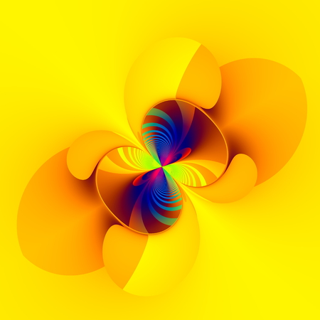 Weird abstract digital imagery. Flat style. Modern design concept. Computer art deco. Rounded icon isolated on yellow background. Digitally generated image in square shape. With copy space as creative elements. For pretty stylish text on the blank.
