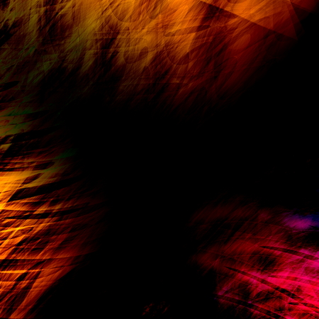 Faded color image. Background texture design. Empty art illustration. Old grungy picture effect. Abstract computer rendering. Paint brush strokes. Retro poster idea. Banner graphic for text. Artistic weird fantasy. Dark brown and black canvas. Sheet.