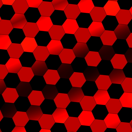 illustrative material: Black red abstract digital background. Technology texture. Beautiful simple picture with nobody. Tilt view. Flat design illustration. Modern art. Image with reflective effect. Illuminated tiles. Idea for graphic elements. Small colored pieces. Shapes. Stock Photo