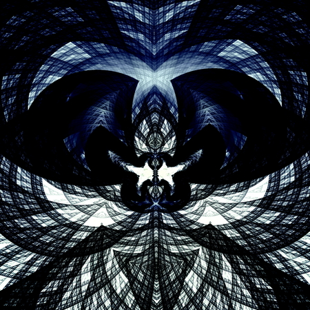 Geometric line art image. Two kissing doves. Black blue white colored design element. Beautiful background. Picture symmetry concept. Abstract style. Ornament symbol. For print or poster. Detail structure. Religious message. Modern contemporary pattern. Reklamní fotografie - 41562800