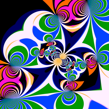 computergraphics: Psychedelic style background. Illustration design. Symmetrical pattern. Clipart spirals. Art decoration. Abstract effect. Generated backdrop. Different shapes and colors. Unusual geometric graphic. With blue tone. Contemporary decor. Circle shapes. Stock Photo