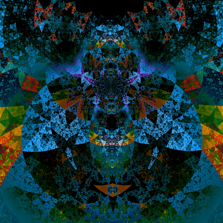 abstractly: Psychedelic darth vader art. Beautiful illustration. Futuristic background. Abstract art pattern. Artistic computer screen backdrops. Science fiction theme. Detail picture for print or album. Pareidolia effect. Colorful mosaic ornament. Round shapes.