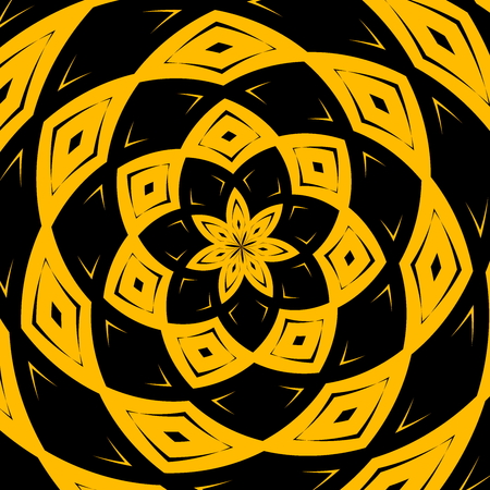 Modern black yellow art graphic composition. Checked wrapped illustration image. Creative abstract fantasy background. Design element. Round shapes. Computer rendering. Concept for web designer. Symmetrical kaleidoscope picture. Digital artwork elements.
