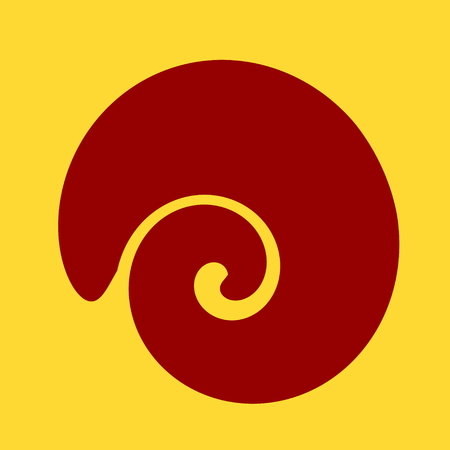 pic  picture: Large spiral shaped shell. Isolated design element on yellow background. Abstract nature illustration. Travel logo concept. Icon art. Vignette picture. Square shape image. Color label. Cartoon silhouette. Profile pic. Flat style. Digital artwork for book.