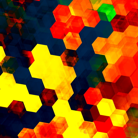 semitransparent: Colorful hexagon background. Abstract artistic design internet illustration. Changing colors pattern. For poster or digital display. Hexagonal shape  form. Tiles  pixels mosaic. Geometric shapes. Yellow red blue color graphic. Art style. Modern artwork.