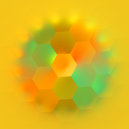 Colorful geometric hexagon shapes on background. Modern computer artistry. Geometry effect. Blurry color spectrum. Abstract composition. Creative hexagons in circle shape. Beautiful decoration. Ornament in rainbow coloring. Decorative artwork. Rendering. Stock Photo