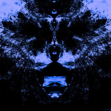 unreal unknown: Intricato sfondo blu psichedelico. Illustrazione ad alta risoluzione. Concetto astratto. Progettazione immagine dispari. Non comune e distinta decorazione ornamento. Composizione in bianco e nero. Opera di computer con forme surreali. Pareidolia arte del fronte. Grafica unica. Archivio Fotografico
