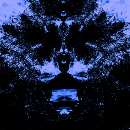 Intricate psychedelic blue background. High resolution illustration. Abstract concept. Odd image design. Uncommon and distinct decoration  ornament. Monochrome composition. Computer artwork with surreal shapes. Pareidolia  face art. Unique graphics.