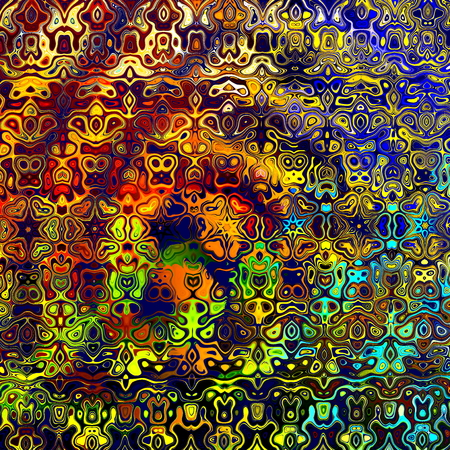 abstractly: Psychedelic colorful art background illustration. Computer technology style. Decoration element. Detailed texture. Abstract color composition for poster or print. Surreal effect picture. Wall decor. Rainbow splatter. Weird fantasy fluid. Palette. Stock Photo