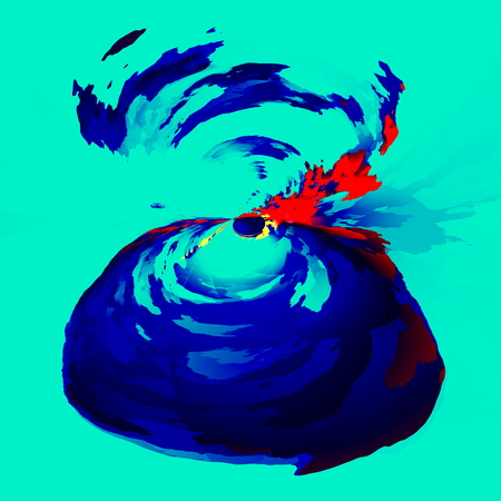 out of gas: Abstract exploding volcano. Art illustration background. Graphic design element. Isolated image. Conceptual composition. Ink splash effect. Digital creative artwork. Color paint splatter. Psychedelic smoke spewing. Blue abstraction squirting blood. Style.