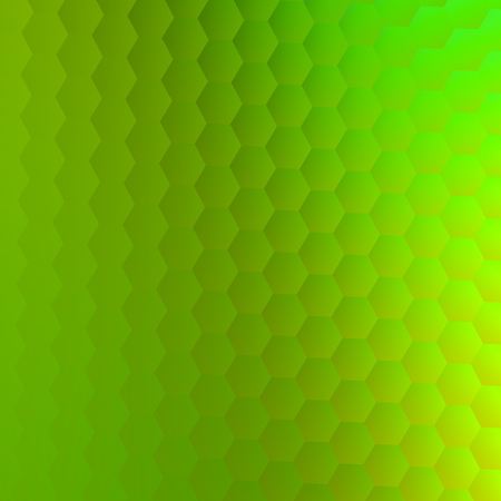 Abstract green hexagons background. Texture for text. For header design. Square shape picture. For educational presentation or screen. Green metal wall composition. For stylized letter. Digitally created backdrop. For poster flyer brochure billboard. Stock Photo