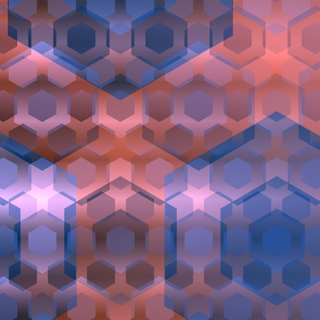 Blue pink overlapping hexagons. Abstract background. Modern computer illustration. Flat design. Web elements. Digital style image. Digitally generated graphic. Creative virtual concept. Simple artistic idea. Series of shapes in various sizes. Website art.