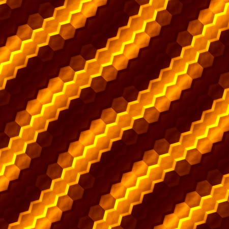 Abstract orange hexagons background. Art illustration. Color image for computer screen. Macro picture design. Creative element. Decoration wallpaper. Brown colored backdrop. For flyer or poster. Modern honeycomb mosaic structure. Graphic designer. illustration