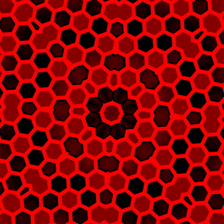 abstractly: For web design. Red black hexagon pattern background. Modern flat digitally rendered graphic. Abstract geometric shape. Unique style. Ornate art abstraction. Virtual shapes. Decorative patterns. Composition of mosaic tiles. Closeup with small holes. Stock Photo