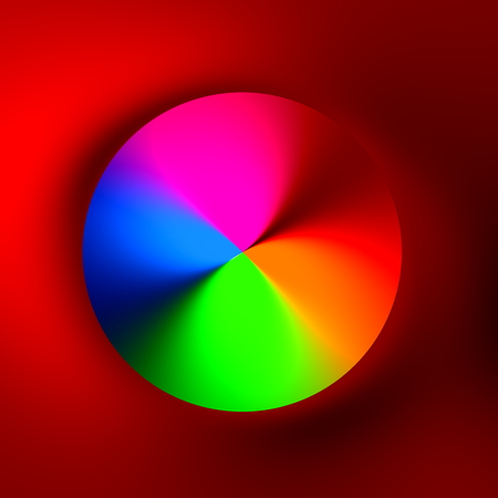 generative: Rainbow colored hole on red 3d background. Full circle shape. Creative orb idea. Ornate luxury gem. Modern digital art. Circular funky pic. Abstract round color ball. Unique stock render. Magical push button. Generative soft hue. Spinning neon wheel.