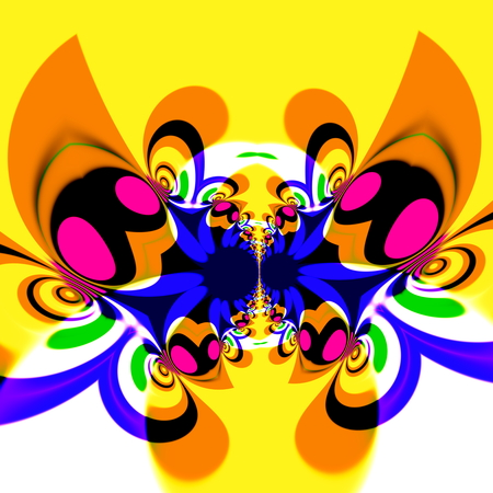 obscure: Colorful psychedelic butterfly in flight. Cool modern art style. Weird fly or insect. Artificial odd deco. Crazy messy swirling. Twisted colour decor. Obscure color picture. Colourful dynamic pic. Bright yellow colored retro wallpaper pattern. Idea.