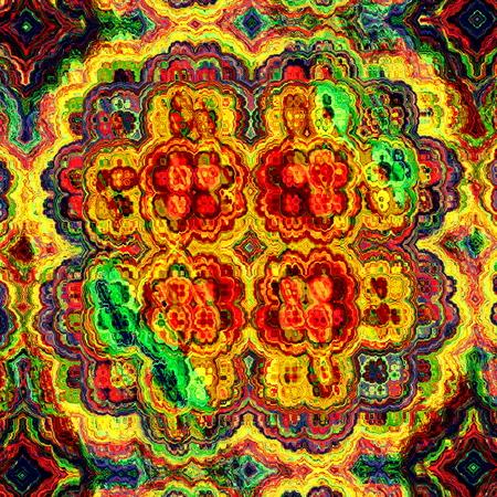 computer art: Mad colorful fractal. Odd shaped craft. Vibrant color tone. Virtual dream idea. Surreal visual arts. Digital computer art. Modern stylish decor. Floral mandala motif. Flower in full bloom. Funky psychedelic fx. Strange shape concept. Old picture.