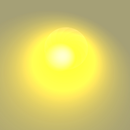atom bomb: Yellow glare on grey background. Brightly lit art. Atom bomb plasma. Visual ray burst. Morning sun rays. New creative idea. Made in full frame. Elegant lens glare. Simple shining star. Solar energy concept. Blurred light effect. Clean power concepts. Stock Photo