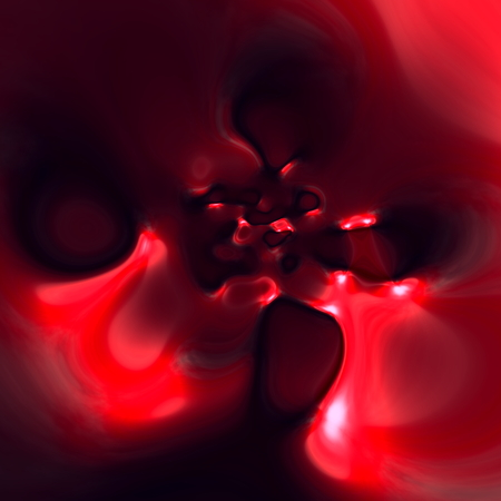 full frame: Abstract art illustration. Red blood splat. Dirty pink color. Pink cyber magma. Funky liquid flow. Odd vomit pattern. Weird round shaped holes. Glossy drop splash. Made in full frame. Messy artist artwork. Molten plastic blast. Stylish dark ornament. Stock Photo