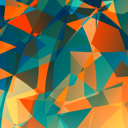 optical image: Orange blue poly background. Odd unique arts. Flat image design. Modern diamond style back. Colored ice facets. Optical effect idea. Two different colours behind glass. Complex multi colored image. Pic of messy clutter. Various broken pieces. Many angles.