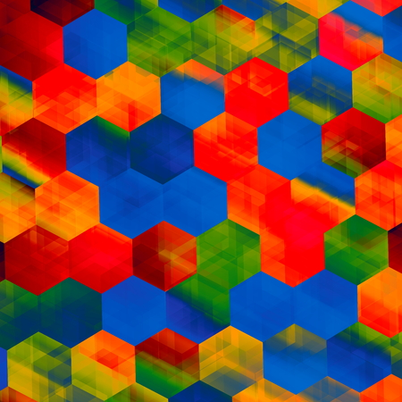 hi resolution: Grungy colorful hexagons. Modern digital art. Flat design element. Image in full frame. Fun decorative arts. Special faded effect. Hi resolution render. Fancy surface texture. Bright colored blocks. Rainbow colored cells. Many colorful patches. Back.