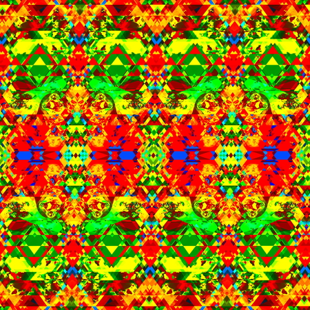 saturating: Psychedelic, colorful and artistic fantasy. Full frame picture. Weird artist ideas. Crazy striped style. Full frame artistry. Many sharp elements. High resolution pic. Futuristic art image. Special colored tiles motif. Green, yellow and red color design.