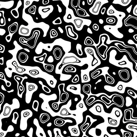 clutter: Psychedelic black white blots. Made in full frame. Messy blob clutter. Unusual odd splats. Artsy liquid splash. Fun shape distortion. Strange crazy render. Special mixed matter. Hires fabric pattern. Ornamental dirty deco. Cool melted splotches. Backdrop.
