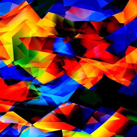saturating: Colorful geometric background texture or pattern. Glass mosaic art. Cheerful multi color pic. Trendy funky effect. Cool stylish poly concepts. Grunge paper frame for book. Geometry rich design. Ornate colourful fun. Abstract chaos sample. Dynamic crystal. Stock Photo