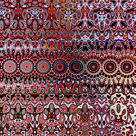 uncommon: Psychedelic repetetive shapes in maroon color. Grungy red blots. Many colored shapes. Modern stylish decor. Unusual odd elements. Messy stylistic blot patterns. Special unreal concept. Artsy uncommon texture. Ornamental trance arts. Creative element.