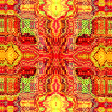 full frame: Psychedelic stains background. Old cyber style. Image made in full frame. Red fabric pattern. Colour grunge deco. Obscure chaos in red color tone. Mad art for web design or poster. Modern creative idea. Crazy abstract design. Bright vibrant colors. Stock Photo