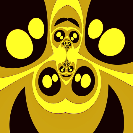 manga style: Bizarre symmetrical fractal with shiny eyes. Full frame image. Golden manga style eyes. High depth effect. Creepy obscure pic. Unusual eye shape pattern. Distinct mad concept. Cool creative artwork. Odd uncommon backdrop. Insect eyes formation. Creation. Stock Photo