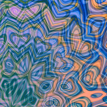 artsy: Abstract delicate blue background. Bright swirl art. Weird curvy chaos. Artist designed pic. Pattern in odd style. Elegant color curves. Trippy stylized arts. Indigo coloured deco. Many different shapes. Artsy arabesque decor. Dynamic ornate tracery. Stock Photo