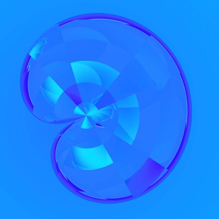 Weird transparent bean shape isolated on blue. Unusual cyber bean. Clean colored forms. Generative art idea. Artsy hitech concept. Weird bright colored picture. Digital glassy render. Crazy folded ornament. Abstract bizarre image. Ornamental round shape.