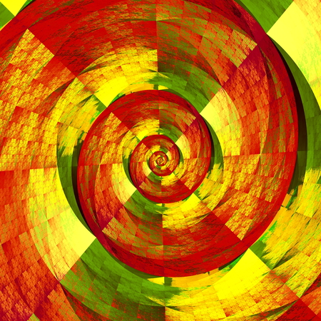 iteration: Abstract fractal spiral. Round twist pic. Made in full frame. Chaotic curled form. Special artistic idea. Multi color iteration. Repeating tiled curve. Odd and weird backdrop. Twisted virtual render. Creative design element. Strange twirl shape. Stock Photo