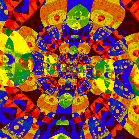 Abstract colorful spiral fractal. Odd modern art. Mad color image. Deep space concept. Repeated deco idea. Artsy twisted mess. Dazzling twist pic. Creative swirl in full frame. Bright vibrant colors. Weird shape iteration. Centered loony spiral. Shape.