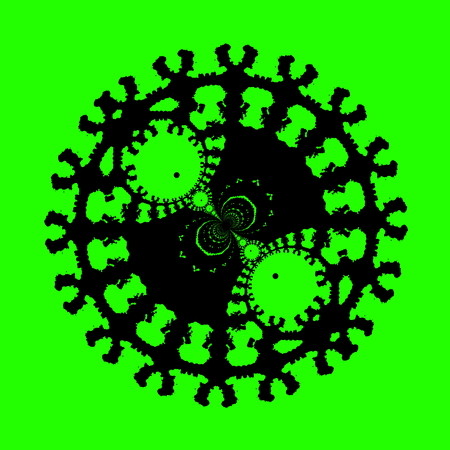 Computer generated image in high resolution. Mad modern art. Artsy virus shape. Stylish decor image. Weird ornate shapes. Abstract stamp shape. Modern funky picture. Creative icon concept. Symbol on green color. Cool rendered artwork. Odd effect.