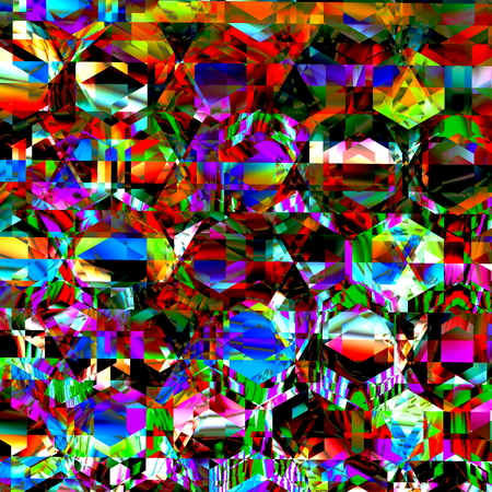 Very bizarre and chaotic clutter. Modern abstract art. Full frame creation. Crazed delirium pic. Dirty colour pattern. Messy stylish render. Shiny diamond surface. Strange crazy designs. Freaky artsy artistry. Pure graphical madness. Unreal artworks.