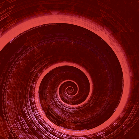 unreal: Weird red fractal spiral. Hires helix curl. Swirl shaped form. Deep space concept. Made in full frame. Visual radial deco. Unreal shape render. Strange curled back. Bizarre shell closup. Shiny creative design. Uncommon artsy scroll. Weird curvy whirlpool. Stock Photo