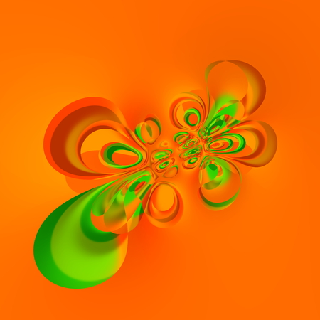 Digitally generated image. Liquid splash deco. Many circle shapes. Weird creative idea. Special warp effect. Stylish trendy splat. Hi resolution render. Uncommon stained pic. Unusual odd structure. Graphic in orange tone. Vortex shaped splatter. Orange. Stock Photo