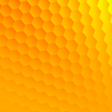 visual effect: Abstract yellow hexagons background. Cool hexagon grid. Hex shape geometry. Flat design element. Clean floor picture. Fresh visual effect. Blank space for text. Opaque bubbles decor. Textured wall surface. Golden honey textures. Backdrop for web form.